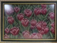 """Авторская работа """"Тюльпаны"""" 35х45 (вышивка бисером)"""
