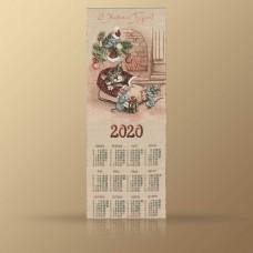 """Календарь декоративный на 2020 год """"Кот в башмаке"""""""