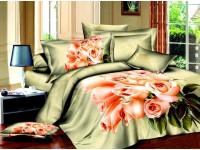"""Комплект постельного белья Дуэт """"Чайная роза"""" сатин 3D"""